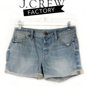 J. Crew Factory Distressed Light Wash Shorts 25